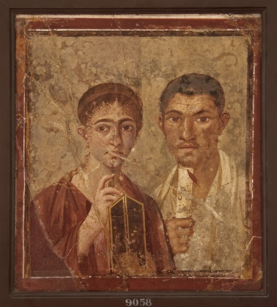 Portrait of the baker Terentius Neo and his wife. Fresco from Po