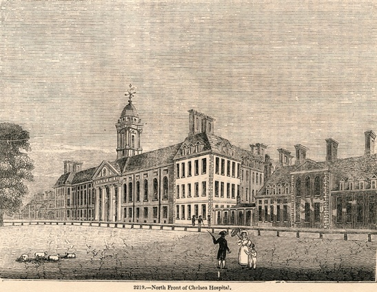 Chelsea Hospital north front, 1845