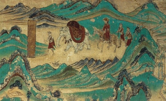 6 Xuanzang returned from India. Dunhuang mural, Cave 103. High Tang period (712-765)