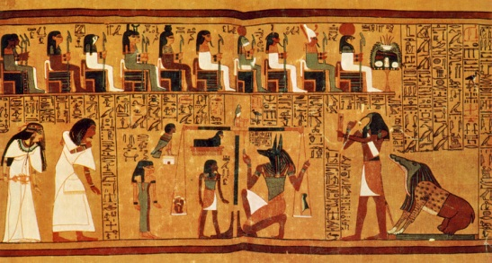 """The Papyrus of Ani is a papyrus manuscript written in cursive hieroglyphs and illustrated with color miniatures created in the 19th dynasty of the New Kingdom of ancient Egypt. The """"Book of the Dead"""" for scribe Ani from Thebes is the manuscript called the Papyrus of Ani. The psychostasia, Greek """"weighing of souls'"""" is a method of divine determination of fate, which persists from the Iliad through to christian theology. In Egyptian mythology, where Duat is the Underworld, there would take place the Weighing of the Heart, in which the dead were judged by Anubis, using a feather, representing Ma'at, the goddess of truth and justice responsible for maintaining order in the universe. The heart was the seat of the life-spirit (ka). Hearts heavier or lighter than the feather of Ma'at were rejected and eaten by Ammit, the Devourer of Souls."""