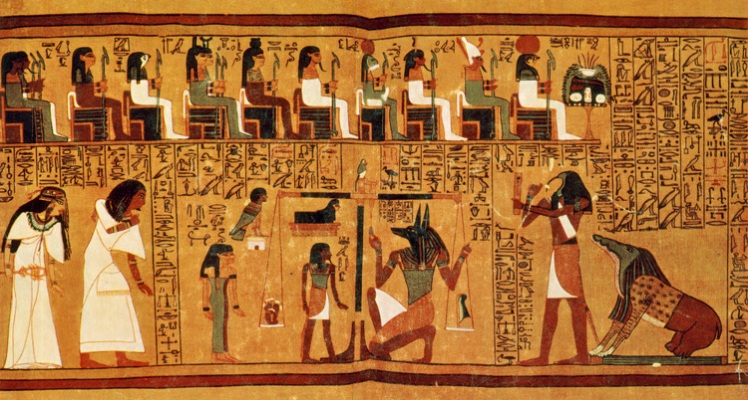 "The Papyrus of Ani is a papyrus manuscript written in cursive hieroglyphs and illustrated with color miniatures created in the 19th dynasty of the New Kingdom of ancient Egypt. The ""Book of the Dead"" for scribe Ani from Thebes is the manuscript called the Papyrus of Ani. The psychostasia, Greek ""weighing of souls'"" is a method of divine determination of fate, which persists from the Iliad through to christian theology. In Egyptian mythology, where Duat is the Underworld, there would take place the Weighing of the Heart, in which the dead were judged by Anubis, using a feather, representing Ma'at, the goddess of truth and justice responsible for maintaining order in the universe. The heart was the seat of the life-spirit (ka). Hearts heavier or lighter than the feather of Ma'at were rejected and eaten by Ammit, the Devourer of Souls."